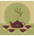 Vintage tea set on the background of the strips vector image vector image