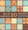 20 geometric seamless patterns set vector image