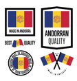 andorra quality label set for goods vector image vector image