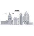 austin united states outline travel skyline vector image vector image