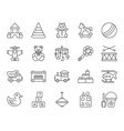 baby toy simple black line icons set vector image vector image