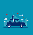 business team travel on with car concept business vector image