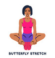 butterfly stretch sport exersice silhouettes of vector image vector image