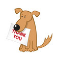 cartoon dog with message paper vector image vector image