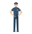 character policeman standing isolated on white vector image vector image