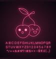 cherry cute kawaii neon light character vector image