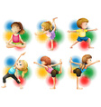 Children doing yoga and stretching vector image vector image