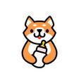 cute shiba inu baby milk bottle dog cartoon logo vector image