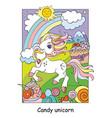 cute unicorn on shugar land colorful vector image