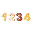 donut icing numbers digits - 1 2 3 4 font of vector image