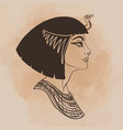 egyptian queen cleopatra isolated on white vector image vector image