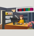 female programmer working at home vector image vector image