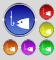 Fishing icon sign Round symbol on bright colourful vector image