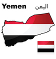 flag and map yemen vector image vector image