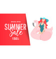 girl in a swimsuit on an inflatable flamingo vector image