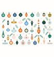 glass christmas tree toys set hanging vector image
