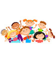group of children kids are jumping joyful white vector image