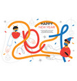 happy new year - flat design style web banner vector image vector image