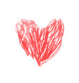 heart drawn in red pencil childrens drawing vector image vector image
