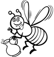 honey bee cartoon for coloring book vector image vector image