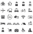 hotel accommodation amenities services icons set vector image