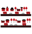 Houses bicycles and buses vector image