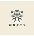 line art pug dog logo design vector image vector image