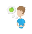 Man feel hungry icon cartoon style vector image