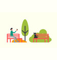 man sitting on bench black cat autumn trees vector image