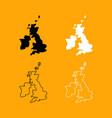 map of united kingdom set black and white icon vector image vector image