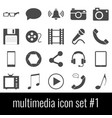 multimedia icon set 1 gray icons on white vector image vector image