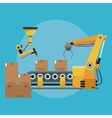 packing box automated robotic production line vector image vector image
