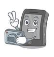 photographer ipad on a wooden cartoon table vector image