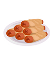 Pile of Sausage Pancake on A Plate vector image vector image