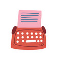 red retro typewriter and blank paper sheet vector image vector image