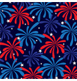 red white blue fireworks and stars vector image vector image