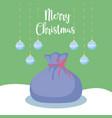 santa claus sack with balls of christmas vector image
