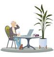senior man work on laptop retired people vector image vector image
