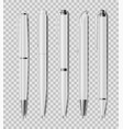 set office white pens isolated on transparent vector image vector image