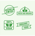 set organic food labels in line style vector image