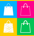 shopping bag four styles of icon on vector image