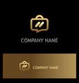 suitcase talk icon gold logo vector image