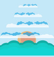 sun in the clouds above the sea vector image