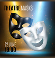 theatrical masks announcement composition vector image vector image