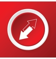 Tilted arrows icon on red vector image