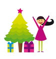 tree christmas with gifts and child girl isolated vector image
