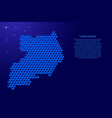 uganda map from 3d classic blue color cubes