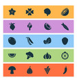 Vegetable icons set with mushroom virgin sorrel