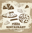 vintage pizza elements for cafe restaurant bar vector image