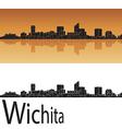Wichita skyline in orange background vector image vector image
